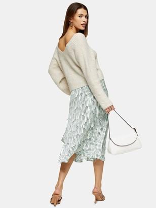 Topshop Idol Wisteria Ruffle Midi Skirt - Mint