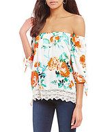 Bobeau PetitesOff-the-Shoulder Crochet Hem Floral Printed Top