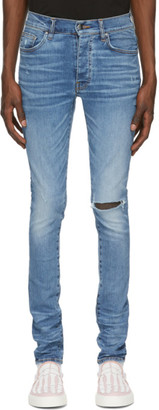 Amiri Blue Slit Knee Jeans