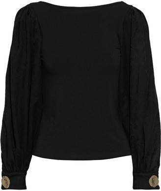 Mother of Pearl Winifred Jacquard-paneled Organic Stretch-cotton Jersey Top