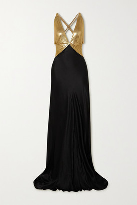 Fannie Schiavoni Eliza Open-back Chainmail And Cotton And Silk-blend Gown - Gold