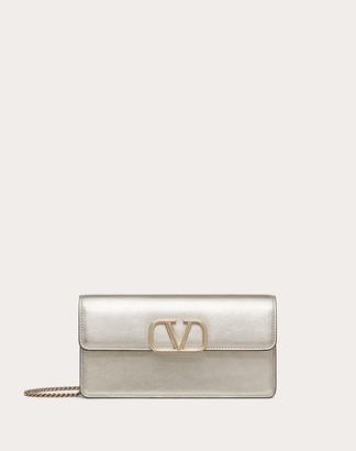 Valentino Vsling Metallic Calfskin Wallet With Chain Strap Women Sahara Calfskin 100% OneSize