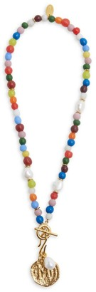 Lizzie Fortunato Confetti Coin 18K Goldplated, 8-9MM Pearl & Multicolor Beaded Pendant Necklace