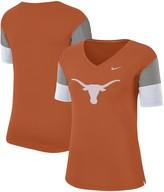 Nike Women's Texas Orange/Gray Texas Longhorns Breathe Team Sleeve Performance V-Neck T-Shirt