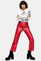 Topshop IDOL Red Real Leather Biker Trousers