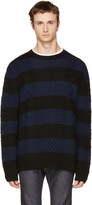 McQ by Alexander McQueen Black and Navy Striped Cable Crewneck Sweater