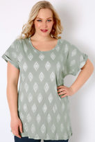 Yours Clothing Light Green & White Diamond Print Top With Turn-Back Sleeves