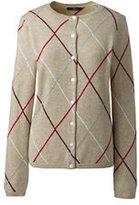 Lands' End Women's Petite Cashmere Cardigan Sweater-Charcoal Heather Argyle