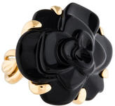 Chanel 18K Onyx Camellia Flower Cocktail Ring