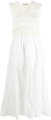 Twin-Set Long Crochet And Muslin Dress
