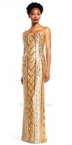 Adrianna Papell Multi Color Sequin Column Evening Dress