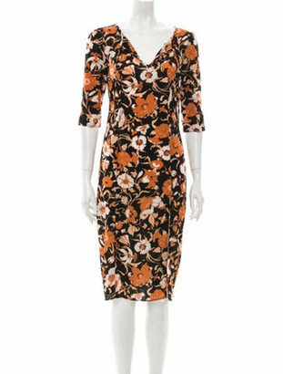 For Love & Lemons Floral Print Midi Length Dress Black