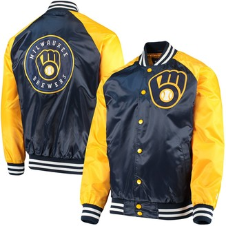 Men's Starter Navy/Gold Milwaukee Brewers The Lead Off Hitter Full-Snap Jacket