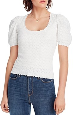 Sally Wu Designs Lini Danielle Puff-Sleeve Pointelle Knit Top - 100% Exclusive