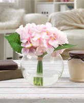 Trademark Global Pure Garden Pink Hydrangea Floral Arrangement with Vase