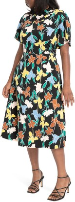 ELOQUII Floral Cowl Neck Midi Dress