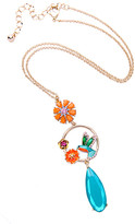 Don't Ask Don't AsK Women's Necklaces Multi - Goldtone & Teal Flower Hummingbird Pendant Necklace