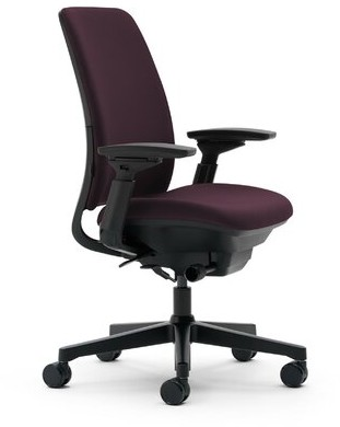 Steelcase Amia Ergonomic Task Chair Upholstery: Buzz2 - Eggplant, Frame Finish: Black, Base: Plastic Base with Standard Carpet Casters