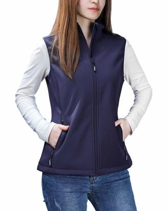 Outdoor Ventures Womens Mia Lightweight Sleeveless Fall Windproof Soft Bonded Fleece Softshell Zip Vest Deep Purple