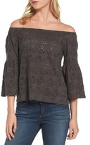 Lucky Brand Women's Eyelet Off The Shoulder Blouse
