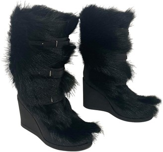 Celine Black Fur Boots