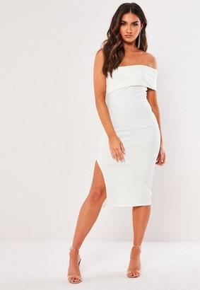 Missguided White One Shoulder Bodycon Midi Dress