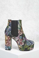 Forever 21 FOREVER 21+ Floral Platform Chelsea Boots