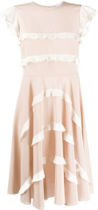 RED Valentino Ruffled Detailed Flared Dress