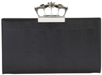 Alexander McQueen Four ring clutch bag in leather