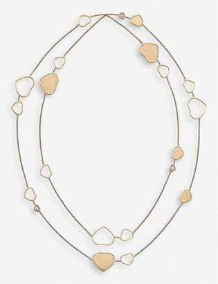 Chopard Golden Hearts 18ct rose-gold and 0.15ct white-diamond sautoir necklace