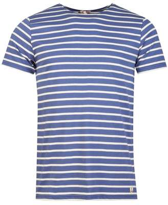 Armor Lux Striped Short Sleeved Crew Neck T-shirt Colour: BLUE WHITE,