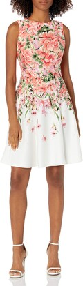 Gabby Skye Women's Floral Bloom Fit and Flare Dress