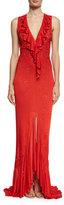 Roberto Cavalli Sleeveless V-Neck Ruffle-Trim Gown, Red