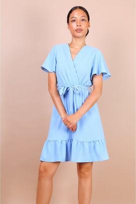 Lilura London Wrap Front Angel Sleeve Mini Dress In Blue