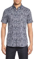 Ted Baker 'Bordeaux' Modern Trim Fit Floral Print Short Sleeve Sport Shirt
