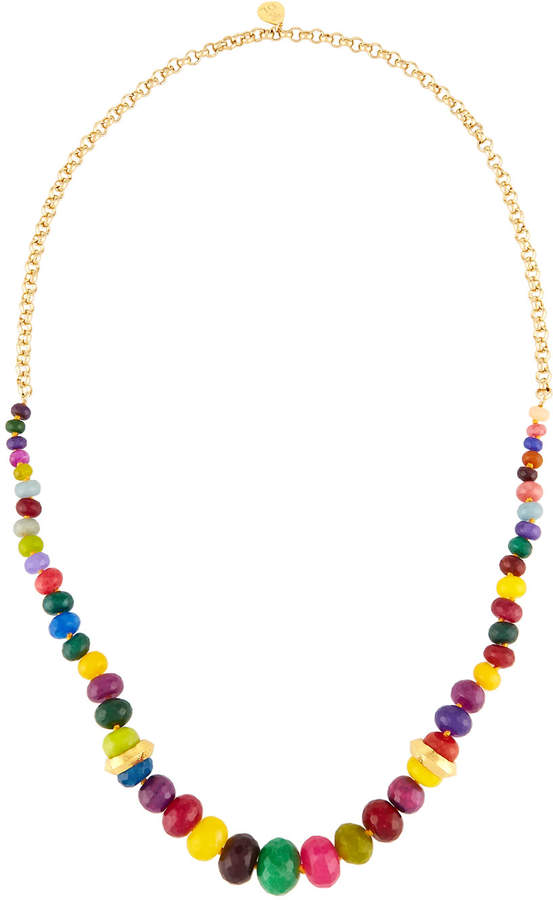 Devon Leigh Long Rainbow Agate Beaded Necklace