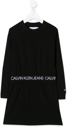 Calvin Klein Jeans Logo Embroidered Jumper Dress