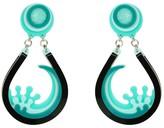 Handamade Acrylic Earring Drip Wave Green