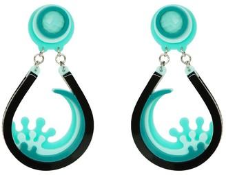 Gissa Bicalho Handamade Acrylic Earring Drip Wave Green