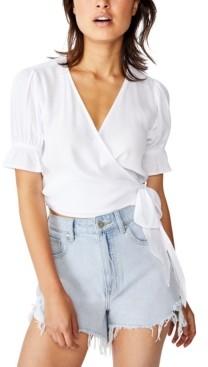 Cotton On Poppy Short Sleeve Wrap Top
