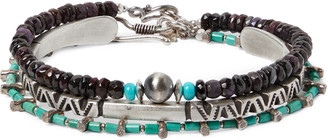 Peyote Bird Set Of Three Sterling Silver, Turquoise And Sugilite Bracelets - Blue