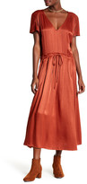 Free People V-Neck Short Sleeve Drawstring Waist Maxi Dress