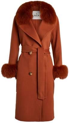 Ducie Marta Fox Fur Trim Coat