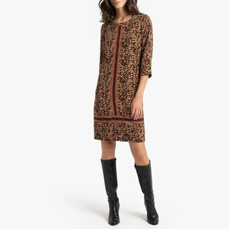 Anne Weyburn Animal Print Shift Dress in Mid-Length with Long Sleeves