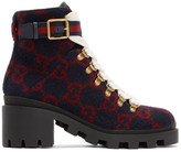 Gucci Navy Wool GG Ankle Boots