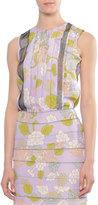 Bottega Veneta Vertical-Pleat Jewel-Neck Top