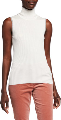 JED Skinny Mini Rib Sleeveless Turtleneck Sweater w/ Metallic Trim