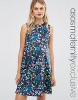 Asos Scuba Skater Dress In Digital Floral