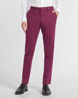 Express Extra Slim Magenta Solid Performance Cotton Suit Pant