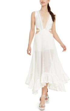 Bebe Juniors' Fringed Plunge Cutout Mesh Maxi Dress